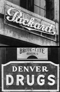 top: Packard sign, LA, 1923. (Federal Sign & Signal Corporation) Bottom: mid-1920s neon. (QRS Sign Corporation, LA) Source: Stern