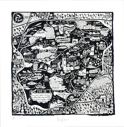 Dartmoor, handdrawn map by Caroline Harper