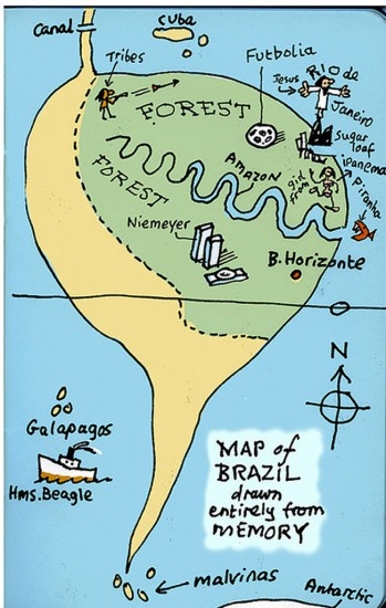 Brazil map from memory